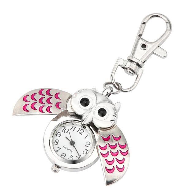 Fashion Gorgeous Owl Watch Clip Pocket Keychain fashion women watches ladies wri