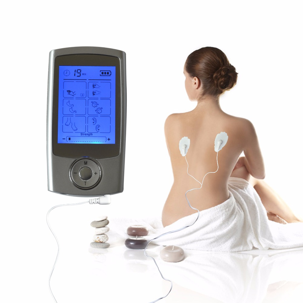 TENS Multifunction 16Modes Body Health Electro-Theraphy Massager+1Pair Physiotherapy Gloves+1Pair <font><b>Knee</b></font> Pads+4Pcs Conducting Gels