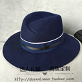 Europe and the United States double black M standard big cloth alien female elegant purplish blue hat double color ribbon