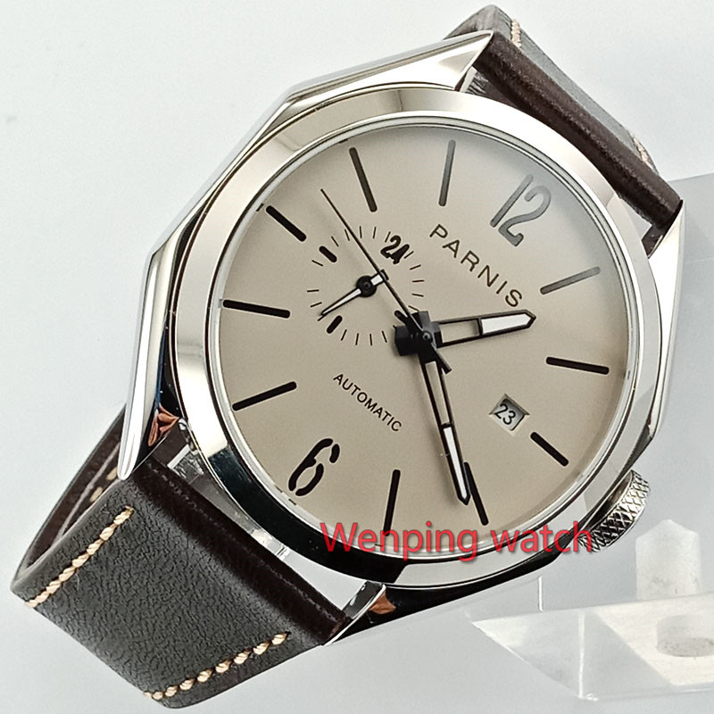 Parnis 43mm new Sapphire glass polish steel Polygon case gray dial Miyota 821A Automatic Mechanical Men