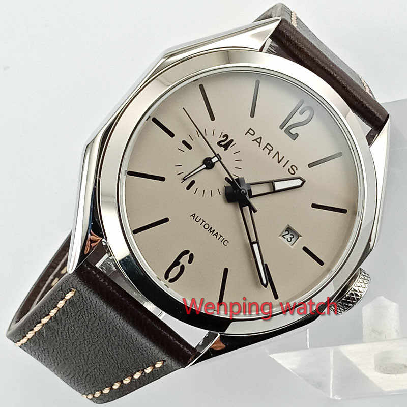 Parnis 43mm new Sapphire glass polish steel Polygon case gray dial Miyota 821A Automatic Mechanical Men Watches W2798