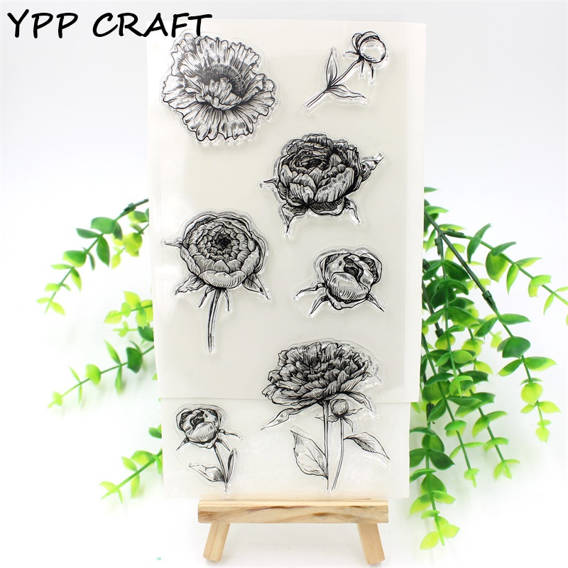 YPP CRAFT 1 Sheet Rose Transparent Clear Silicone Stamps for DIY Scrapbooking/Card Making/Kids Fun Decoration Supplies Flower kscraft butterfly and insects transparent clear silicone stamps for diy scrapbooking card making kids fun decoration supplies