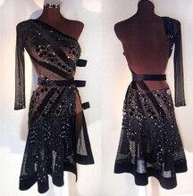 2018 שמלת ריקוד לטיני שמלה חדשה שחור סקסי לטיני שמלה, סלסה, שמלה לטינית מחוייט שחור סקסי לטיני חצאית