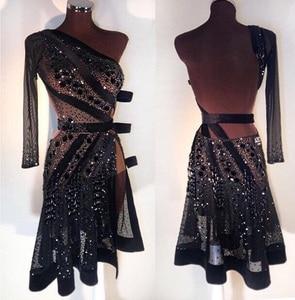 Image 1 - Robe de danse latine, nouvelle robe noire Sexy, salsa, robe latine sur mesure, noire, jupe latine Sexy 2018