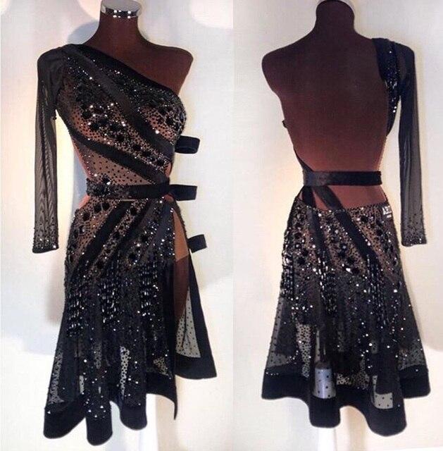 Robe de danse latine, nouvelle robe noire Sexy, salsa, robe latine sur mesure, noire, jupe latine Sexy 2018