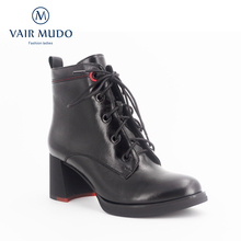 VAIR MUDO Fashion classic High quality handmade winter womens boots Genuine leather Lace-up  Round ToeHigh heel Lady Boots DX2