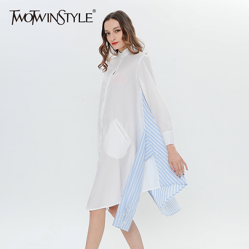 TWOTWINSTYLE Patchwork Striped Shirt Dress Female Bandage Lace Up Casual Dresses For Women Shirt Long Sleeve Clothes Big Sizes