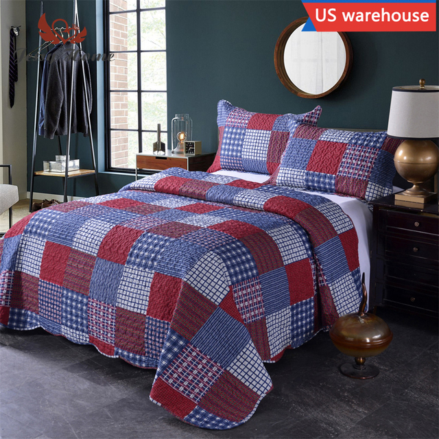 Oliven Summer Quilt Set Queen/King Size, Patchwork Plaid Coverlet 3  Pcs,Include 2 Pillow Shames, Blue&Burgundy Bedspread Blanket-in Quilts from  Home &