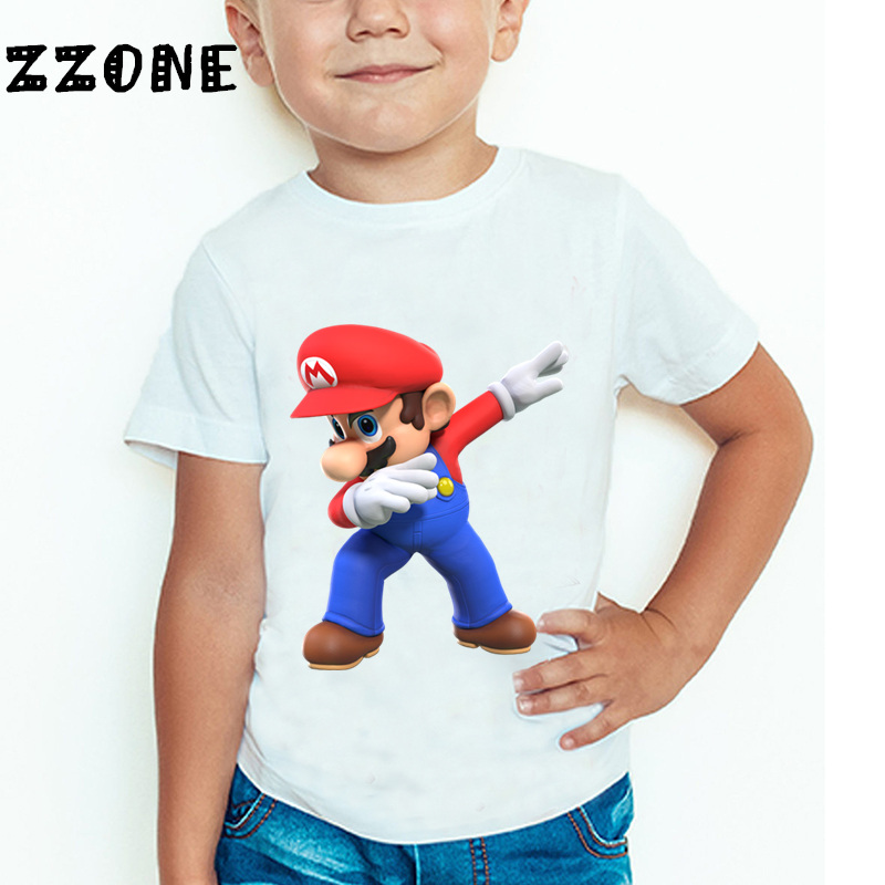 Uşaqlar və Qızlar Super Mario Bros Oyunu Cizgi filmi Moda T-shirt - Uşaq geyimləri - Fotoqrafiya 2