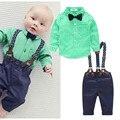 2016 новый синий плед детская одежда мальчика рубашки с луком + повседневные брюки с бесплатный ремень мальчик модная одежда набор новорожденных одежда