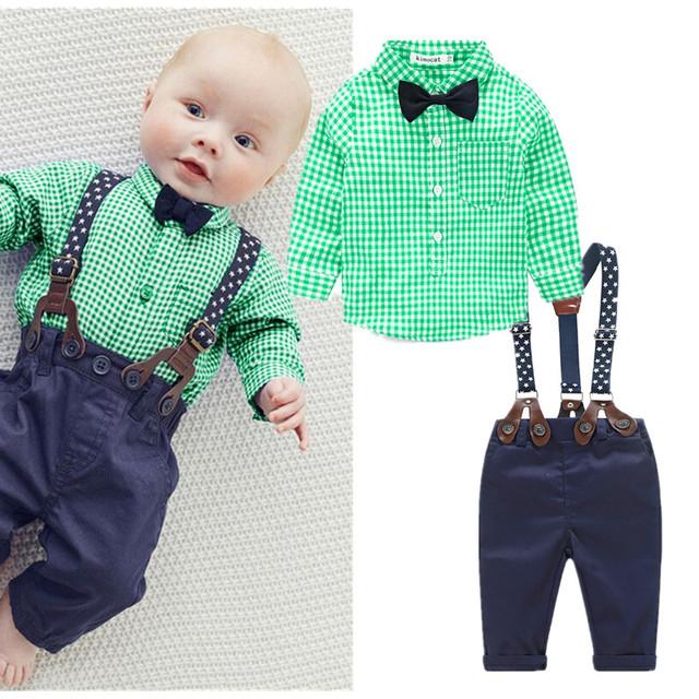 2016 nova manta azul bebê roupas menino camisa com arco + calça casual cinta econômicos com livre do bebê menino conjunto de roupas de moda recém-nascidos roupas