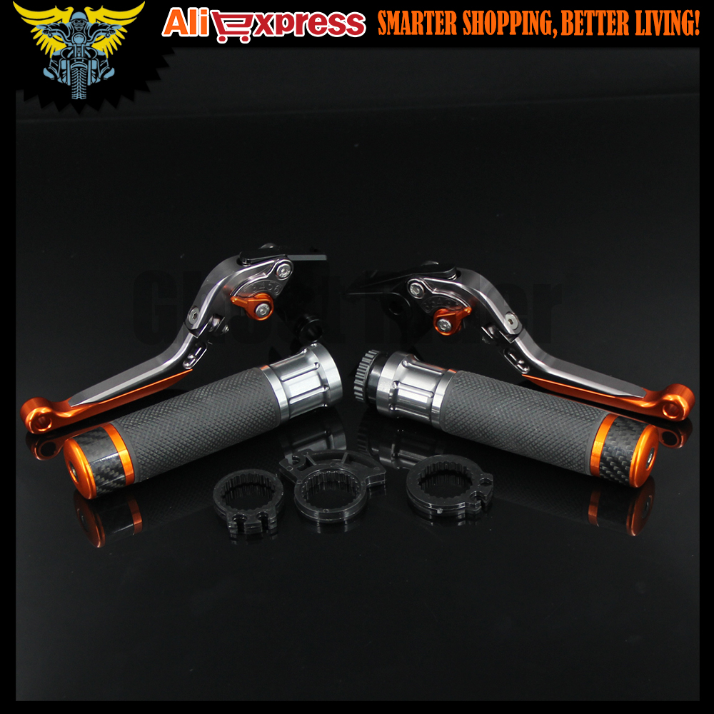 Motorcycle CNC Brake Clutch Levers and Handlebar Hand Grips Handle Grip For KTM 690 SMC/SMC-R/Duke/Duke R 2012 2013 mtkracing cnc aluminum brake clutch levers set short adjustable lever for ktm adventure 1050 690 duke smc smcr 690 enduro r