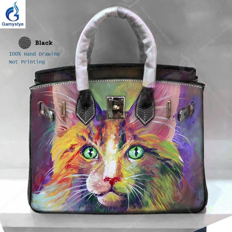 все цены на Women's Handbags 100% Genuine Leather Bags Hand Painted Graffiti Animal Cat Prints Bag Ladies Togo Leather Shoulder Bags Totes Y онлайн
