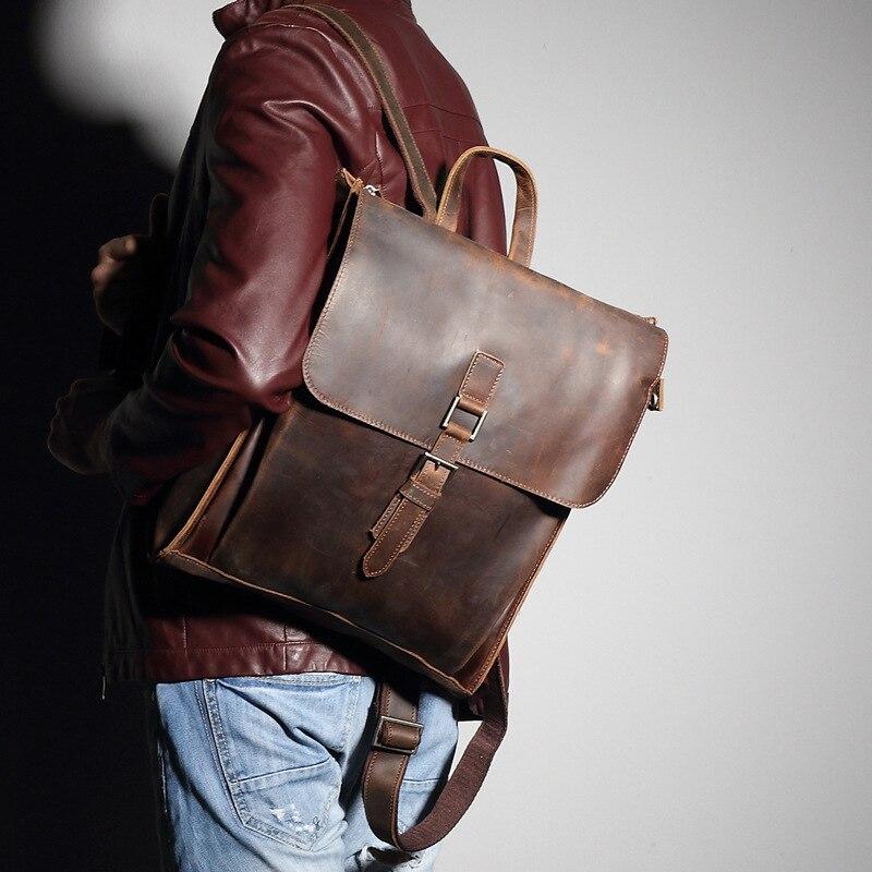Misfits Men's Genuine Leather Backpack Vintage Men Crazy Horse Cowhide Travel Bags Male Large Capacity Retro Rucksack MZ4052