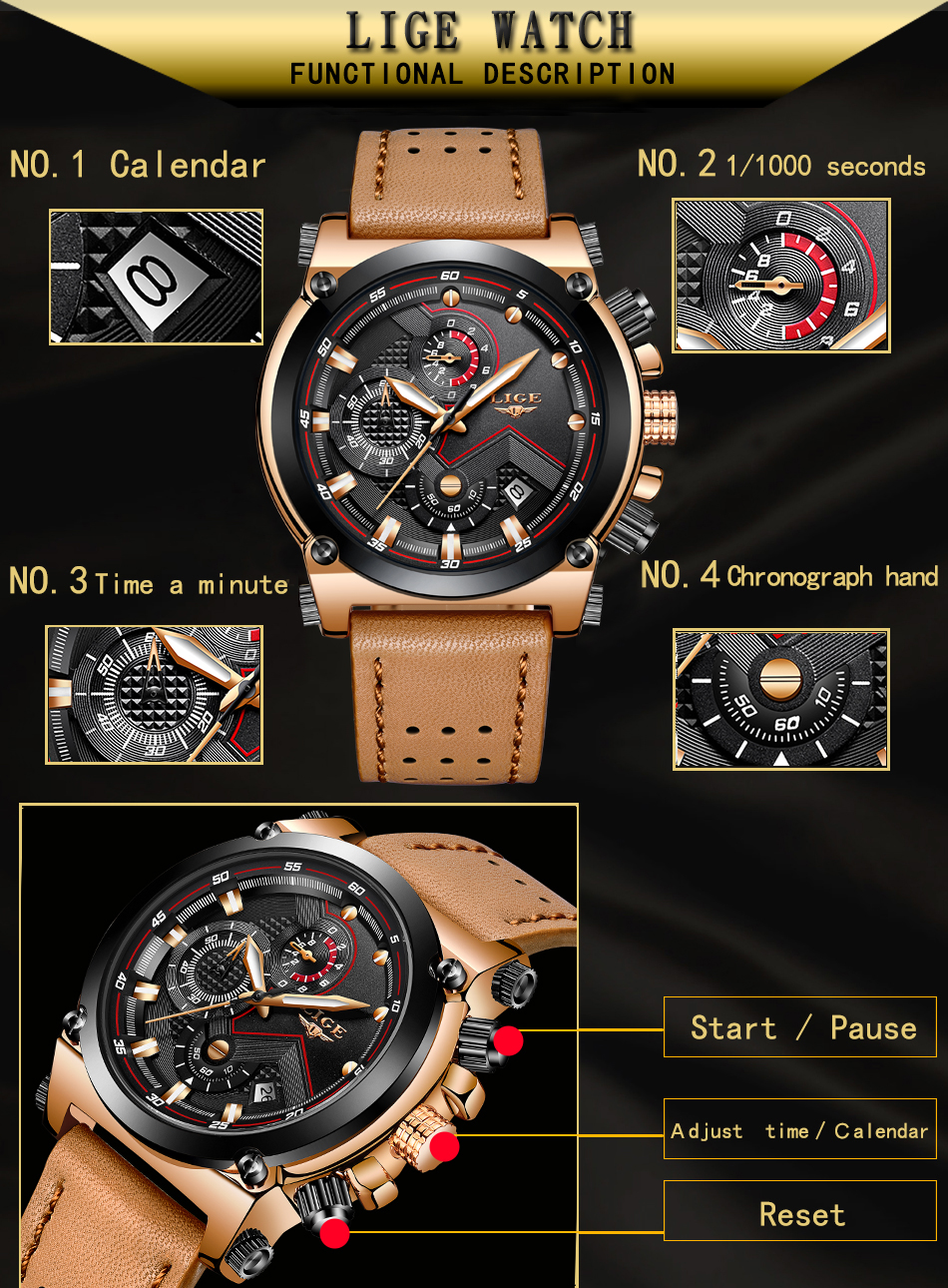 Reloje 18 LIGE Men Watch Male Leather Automatic date Quartz Watches Mens Luxury Brand Waterproof Sport Clock Relogio Masculino 9