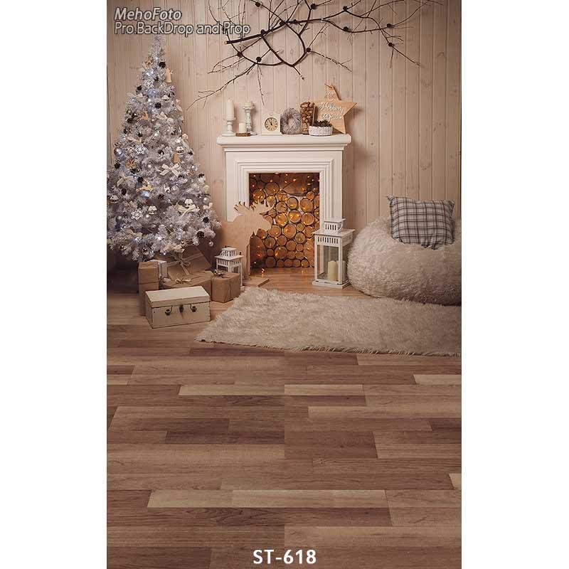 Fireplace  Decorations Tree Gift Box Sofa Wood Floor Backgrounds for sale Vinyl cloth Computer printed christmas backdrops 水质理化指标检测工作页
