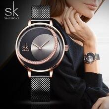 Sk relógio de pulso feminino quartzo, relógio de marca de luxo moderno criativo para mulheres relógio de pulso para montre femme 2019
