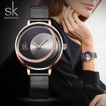 SK Fashion Crystal Women Quartz Watches Creative Ultra Thin Montre Femme Mesh Leather Rose Casual Female Clock 2019 Minimalist tissot t touch prix