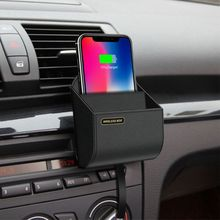 Qi Car Wireless Charger Mobile Phone Wireless Charging Stand Air Vent Holder Storage Box for iPhone Samsung Huawei