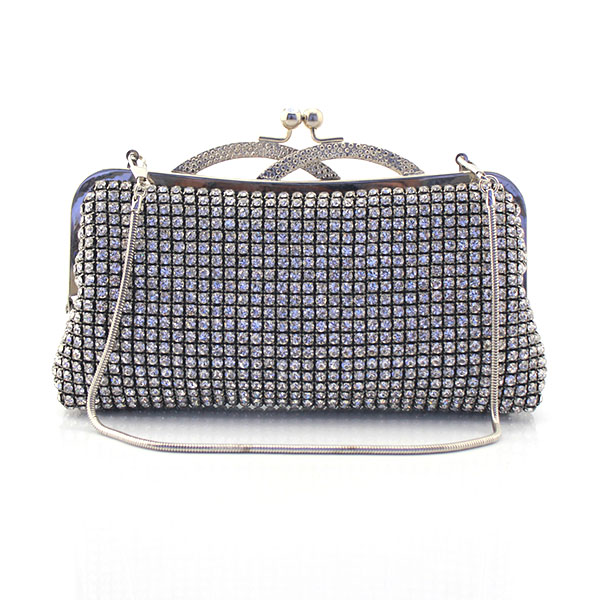 Crystal Evening Bag Clutch Bags Metal Rhinestones Evening Bags Silver/Black/Gold Diamonds Party Bag (6119-BG) faux crystal mosaic clutch evening bag