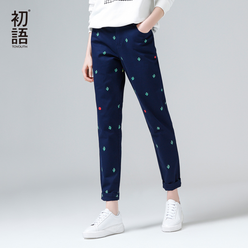 Toyouth Pants 2017 Spring New Women Harem Pant Casual Cactus Printing Straight Full Length Cotton Trousers