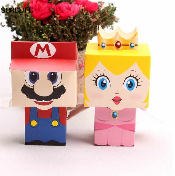 50 pçs/lote super marie bros princesa 25pcs noiva + 25 favores do casamento do noivo mario caixa de doces para presentes de casamento