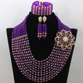 Gorgous Nigerian Fashion Beads African Purple Jewelry Set Dubai Gold Crystal Necklace Earrings Bracelet Set Free Shipping WA617
