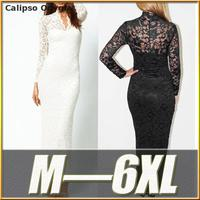 Sexy Black White Lace Long Sleever Lace High Quality Formal Party Long Dress Plus Size Prom Gown dresses