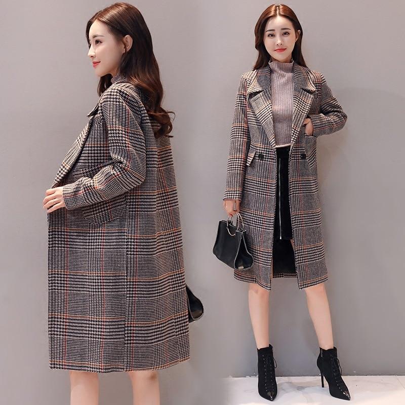 À Mélanges 2018 Plaid Femmes Lâche 2 Hiver De Manches Femelle Veste Longues Automne Manteaux Mode Nouveau Laine 1 Élégante qqvtzX
