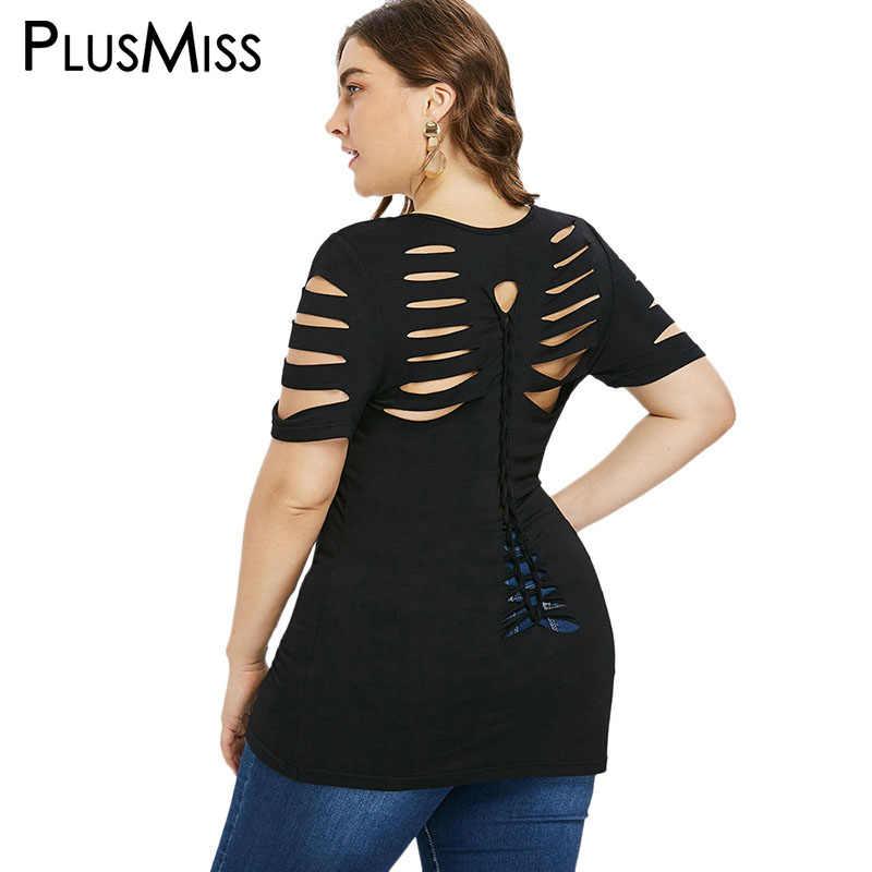 eada7f54b4bbb PlusMiss Plus Size 5XL 4XL Black Sexy Ripped Cut Out T-shirt Women Short  Sleeve