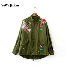 Women Flight Jackets Army Green Floral Embroidery Bomber Jacket Patched Rivet Design Loose Casual Coat Punk Outwear Capa