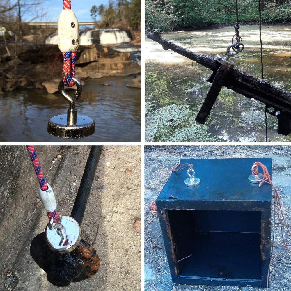 MIKEDE Super fort aimant de pêche au néodyme, 1280 lb (580 KG) 4.75 pouce (120mm) pour la récupération dans la rivière et la pêche magnétique - 6