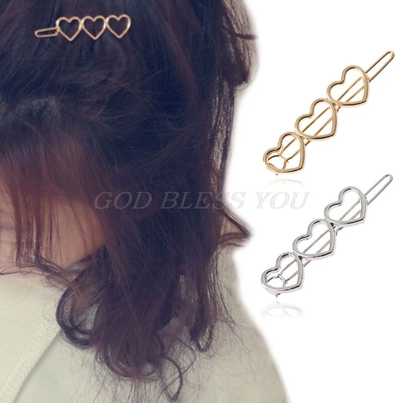 Korean Metallic Three Love Heart Hair Clip Sweet Girls Polished Smooth Surface Glitter Lovely Hairpins Party Side Bangs Barrette