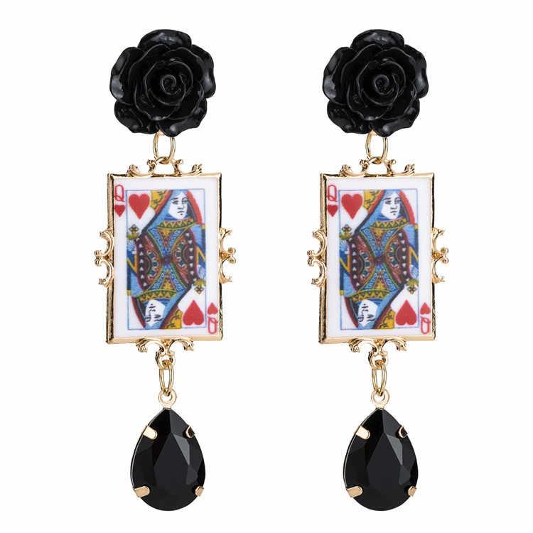 2019 Acrylic Flower Earring For Women Golden Long Dangle Earrings pendientes za 2018 aretes pendientes de gota best lady za
