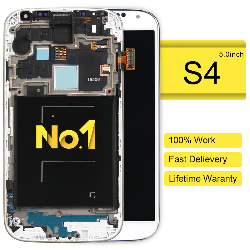 DHL 30pcsalibaba china highscreen clone For Samsung S4 I9500 i9505 i337 i9506 LCD Display + touch screen assembly with frame