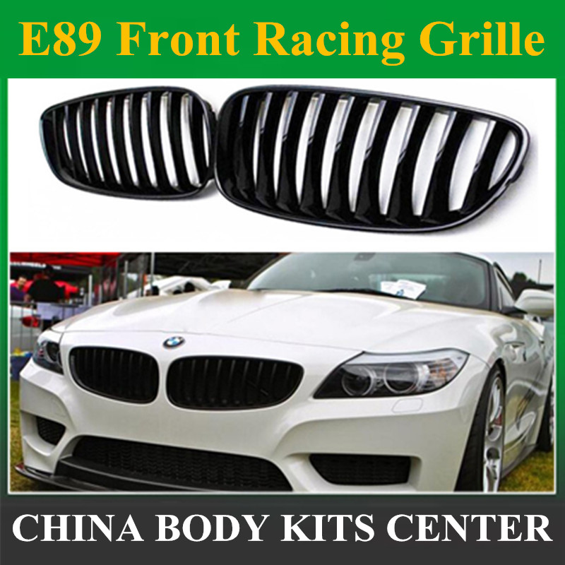 1 Pair Glass Black Car Racing Grills Front Kidney Grille for BMW Z4 E89 2009-2016 Automobiles Replacement Parts Auto Accessories 1 1 replacement for bmw z4 e89 carbon fiber mirror cover 2009 2010 2011 2012 2013 z4 e89 30i 28i 20i 18i carbon