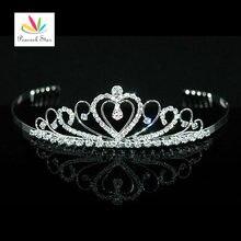 Estrella de la dama de Honor Nupcial Del Banquete de Boda de Calidad de pavo real Del Corazón Del Rhinestone Crystal Tiara CT1250