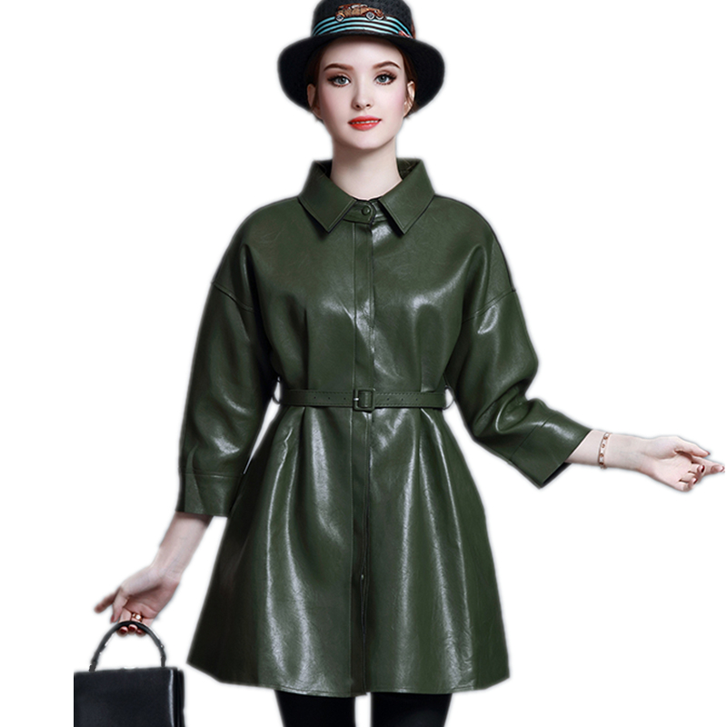 High-quality Spring Autumn Women Long PU Coat New 2019 Fashion Slim Female Turn-down Collar   Leather   Jacket (Give Belt) SUN115