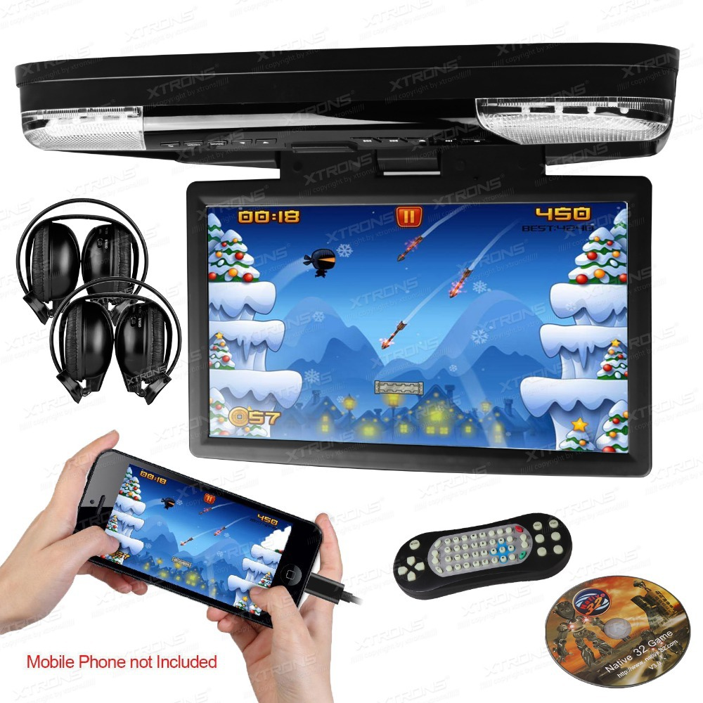 15.6 inch 1080P Video HD Monitor  Overhead car DVD Player with HDMI Port support 32 BIT games + 2 IR Headphones free