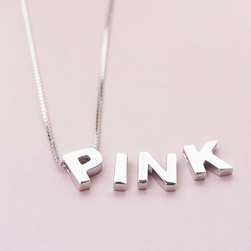 Moda S925 plata esterlina Simple 26 alfabeto inglés colgante sin cadena letra DIY Collar para los amantes 925 joyería de plata
