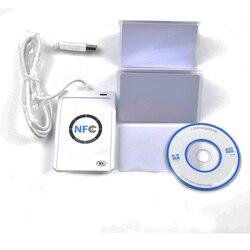 USB ACR 122U NFC تلامس الذكية ic قارئ وناسخ البطاقات دعم جميع أنواع 4 + 5 قطع 13.56 ميجا هرتز nfc 1 كيلو s50 بطاقات + 1 CD SDK