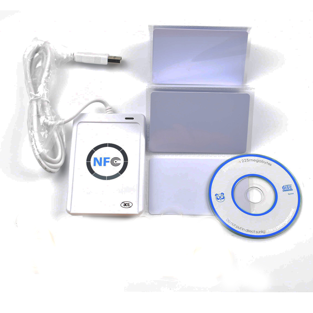 USB ACR 122U NFC contactless smart ic Card reader and writer support all 4 types + 5pcs 13.56MHz nfc 1k s50 Cards +1 SDK CD