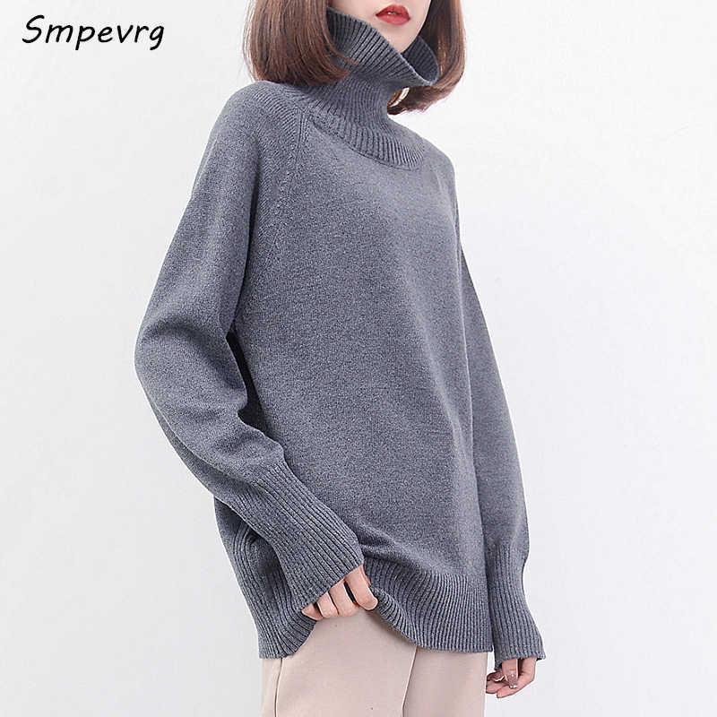Smpevrg 판매 여성 스웨터와 풀오버 높은 칼라 긴 소매 캐시미어 스웨터 여성 니트 가을 겨울 2017 유럽