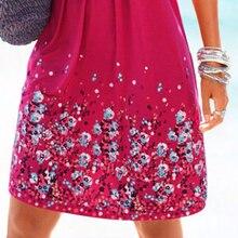 SHIBEVER Fashion new women dress 2017 summer dress lady beach casual print dresses loose party posing sexy female dress LD196