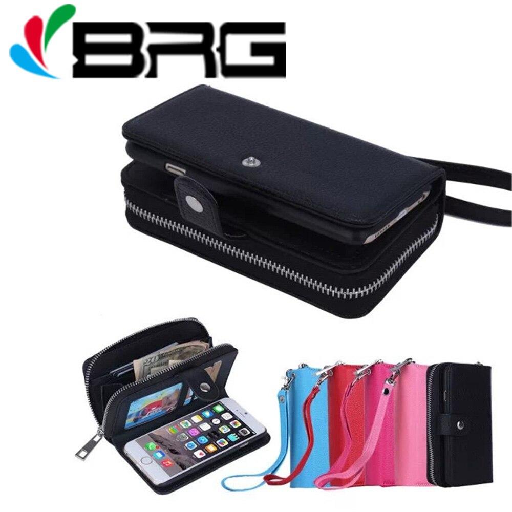 Para o iphone 11 pro max luxo zíper carteira caso de couro para o iphone 5S 6 s 7 8 plus x xr xs max caso bolsa flip capa destacada