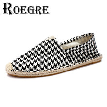 ROEGRE  Canvas Shoes for Unisex 2017 Hemp Espadrilles Men Slip On Casual Plaid Flats Loafers Shoes for Adult Brown Size 35-44