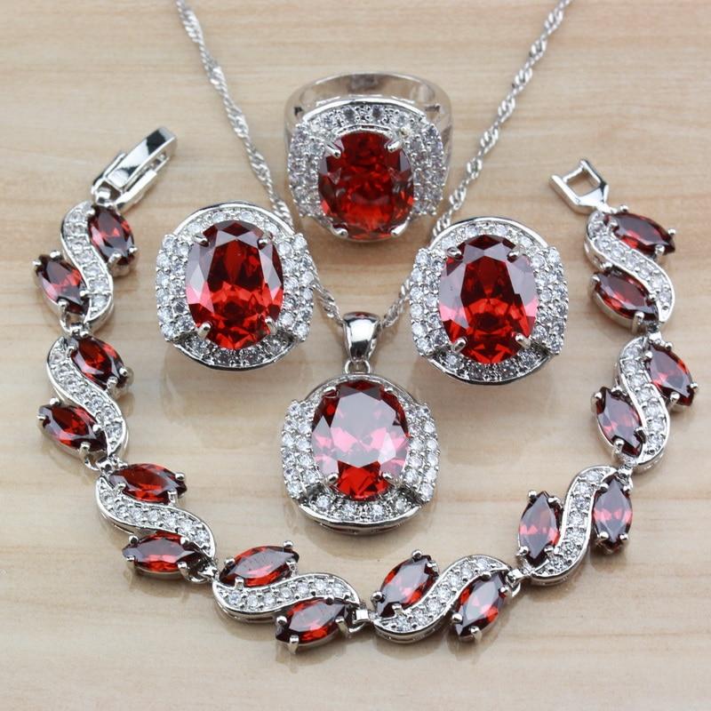 2fc01585b189 Cheap Dubai 925 de plata esterlina con granate Natural rojo joyería nupcial  de la boda establece