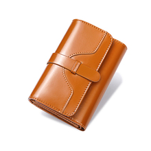 все цены на Ladies Genuine Leather Wallet Women Fashion Wallets Luxury Brand Coin Purse Female Clutch Bag 3 Fold Cowhide Wallet онлайн