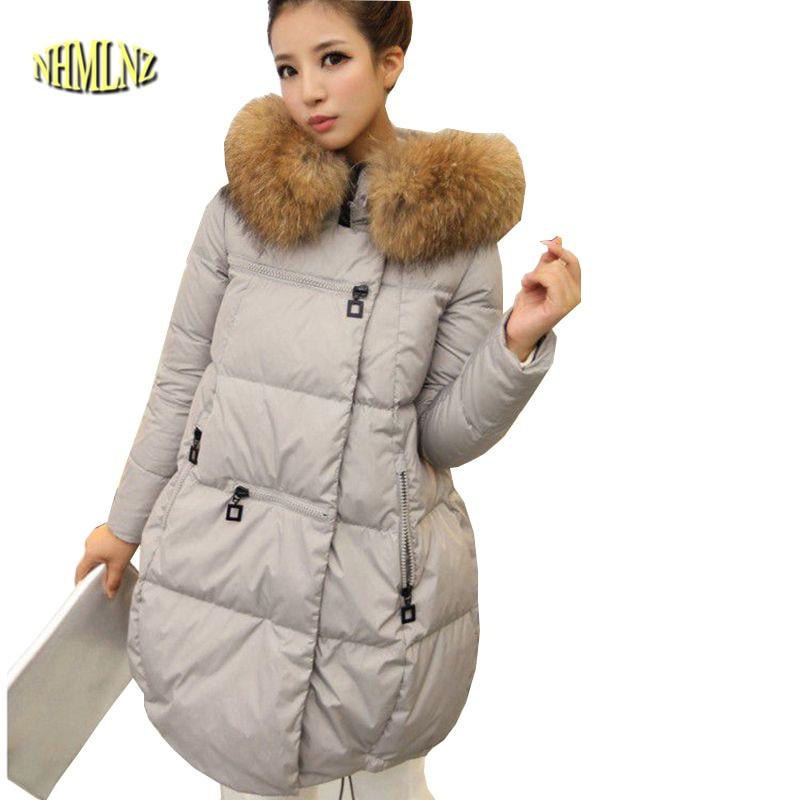 2017 Europe Style Women Warm Winter Coat Fashion Big yards Leisure Cotton Down jacket Women Loose Hooded Fur collar Jacket G2376 стоимость