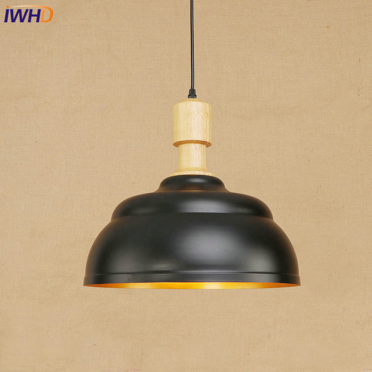 IWHD RH Loft Vintage Industrial Loft LED Pendant Lights Retro Iron Lid Pendant Lamp Fixtures For Home Lighting Bar Cafe american retro pendant lights luminaire lamp iron industrial vintage led pendant lighting fixtures bar loft restaurant e27 black
